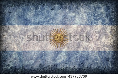 Flag of Argentina painted onto a rough wall - stock photo