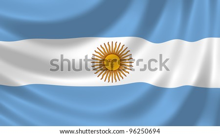 Flag of Argentina waving in the wind detail - stock photo