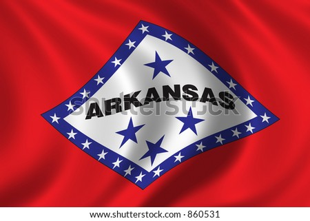 Flag of Arkansas waving in the wind - stock photo