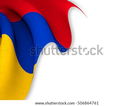 Flag of Armenia close up while waving over a white background-3d rendering