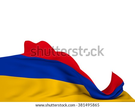 Flag of Armenia moved by the wind, leaving a  white background