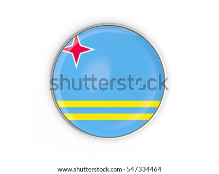 Flag Aruba Round Icon Metal Frame Stock Illustration 547334464 ...