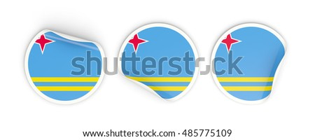 Flag of aruba, three round labels isolated on white. 3D illustration