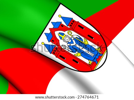 Flag of Aschaffenburg City, Germany. Close Up. - stock photo