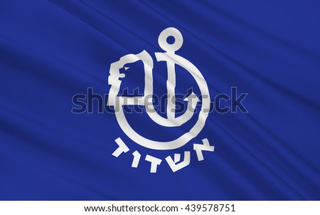 Flag of Ashdod is the sixth-largest city in Israel. 3d illustration - stock photo