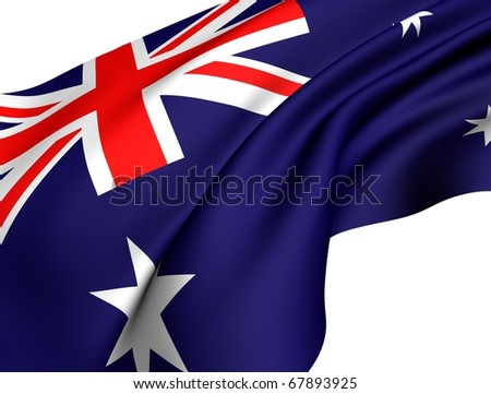 Flag of Australia against white background.