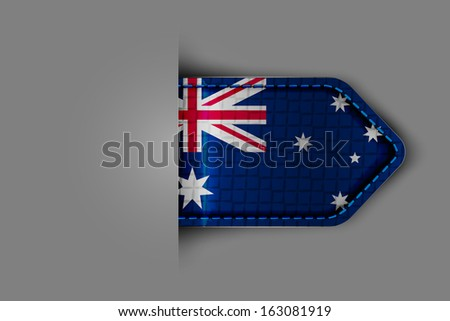 Flag of Australia in the form of a glossy textured label or bookmark. - stock photo