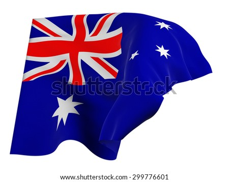 Flag of Australia,isolated, waving in the wind
