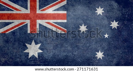 Flag of Australia, officially the Commonwealth of Australia. Retro style version is to 1:2 scale  - stock photo