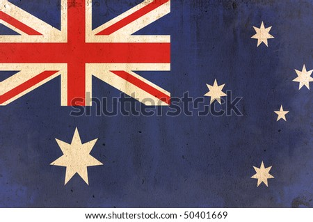flag of australia - old and worn paper style - stock photo