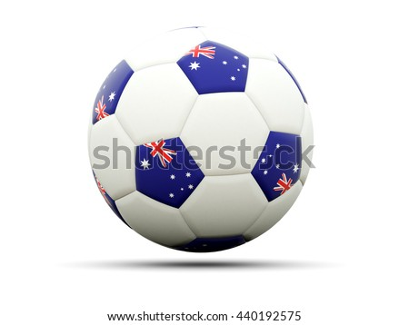 Flag of australia on football, isolated on white. 3D illustration - stock photo