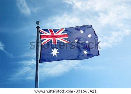 Flag of Australia on the mast