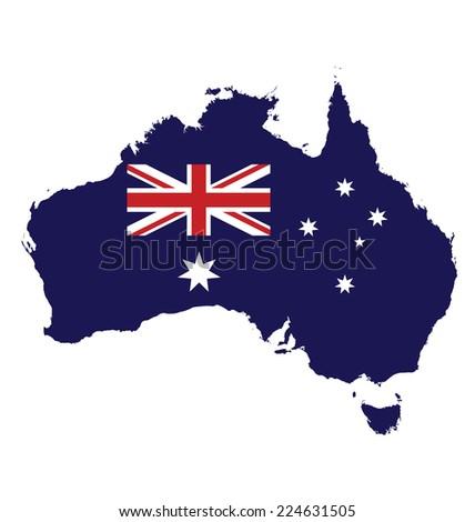 Flag of Australia overlaid on map isolated on white background  - stock photo