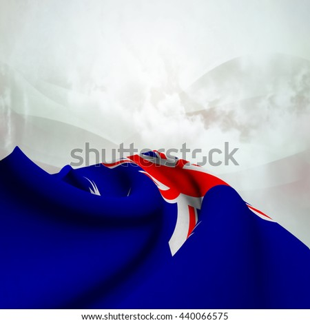 Flag of Australia silky,  fantastic close up shot ,masterfully folded  and resting on an abstract background-3d rendering - stock photo