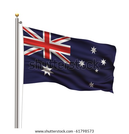 Flag of Australia with flag pole waving in the wind over white background - stock photo
