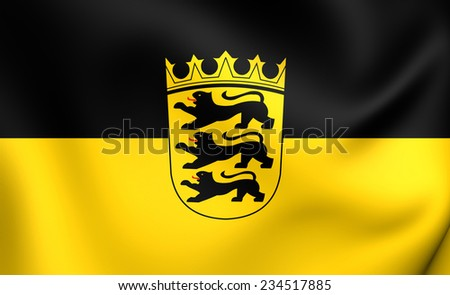 Flag of Baden-Wurttemberg, Germany. Close Up.  - stock photo