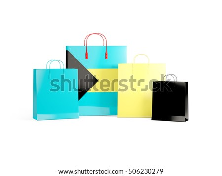 Flag of bahamas on shopping bags. 3D illustration