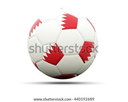 Flag of bahrain on football, isolated on white. 3D illustration - stock photo