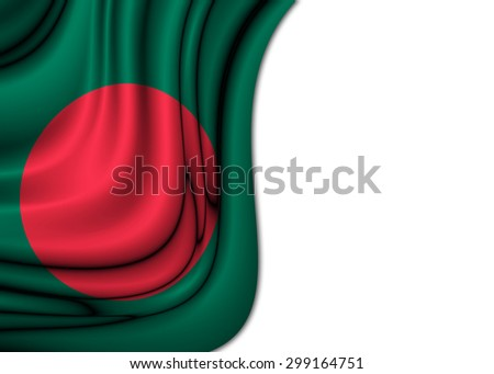 Flag of Bangladesh dropped gently with soft and elegant curves drawn on silk fabric