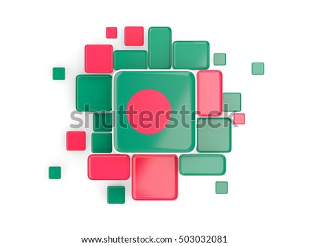 Flag of bangladesh, mosaic background with square parts. 3D illustration