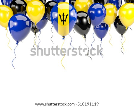 Flag of barbados, with balloons frame isolated on white. 3D illustration