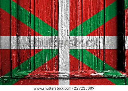 flag of Basque Country painted on wooden frame - stock photo