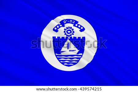 Flag of Bat Yam is a city of Israel. 3d illustration - stock photo
