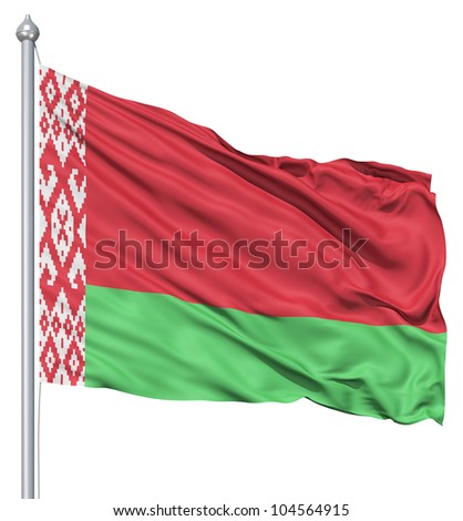 Flag of Belarus with flagpole waving in the wind against white background