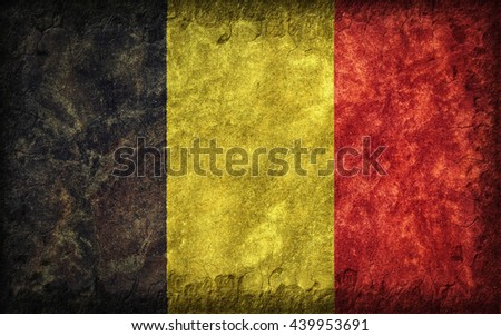 Flag of Belgium painted onto a rough wall - stock photo