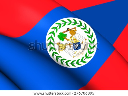 Flag of Belize. Close Up. - stock photo