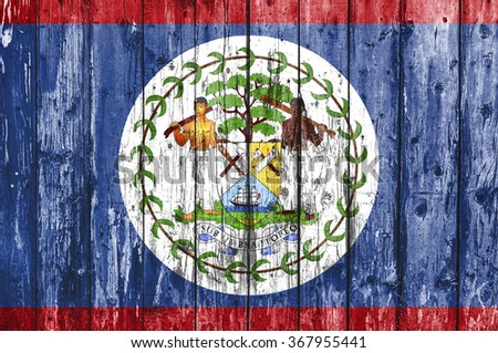 Flag of Belize painted on wooden frame