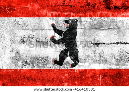 Flag of Berlin, painted on dirty wall. Vintage and old look. - stock photo