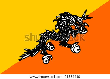 Flag of Bhutan, national country symbol illustration