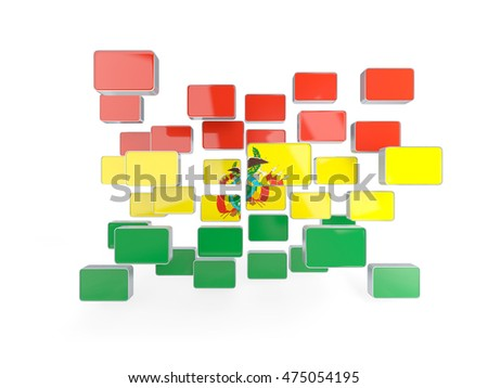 Flag of bolivia, mosaic background. 3D illustration