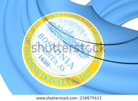 Flag of Boston, USA. Close Up.    - stock photo