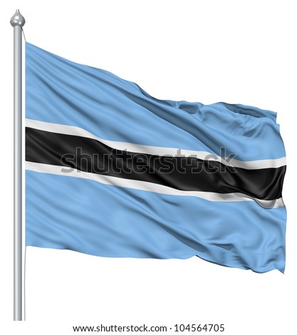 Flag of Botswana with flagpole waving in the wind against white background