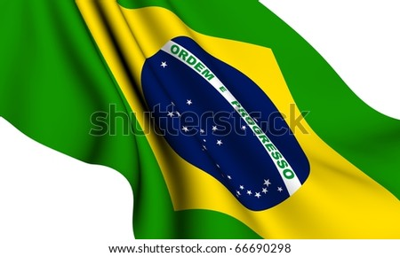 Flag of Brazil  against white background. Close up.