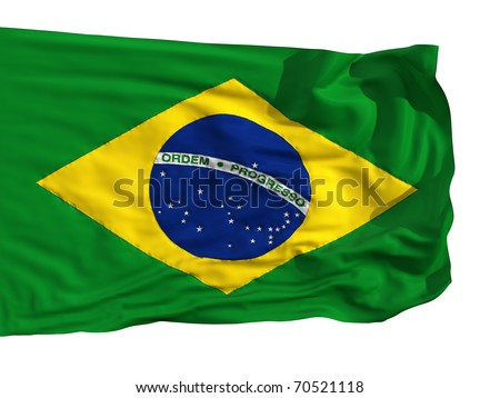 Flag of Brazil, fluttered in the wind. Sewn from pieces of cloth, a very realistic detailed flags waving in the wind, with the texture of the material, isolated on a white background