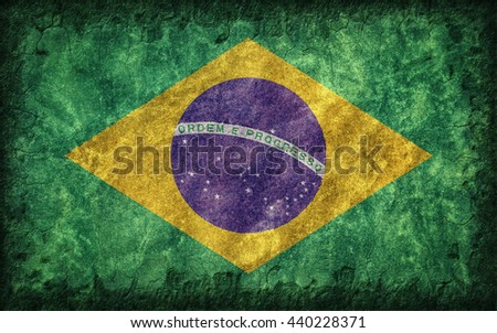Flag of Brazil painted onto a rough wall