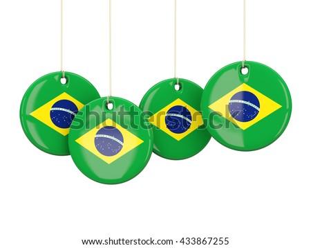 Flag of brazil, round labels on white. 3D illustration - stock photo