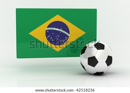 Flag of Brazil with soccer ball - stock photo