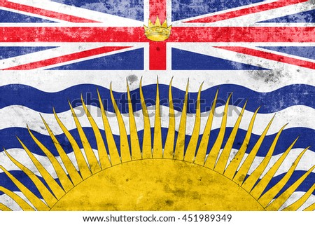 Flag of British Columbia Province, Canada, with a vintage and old look - stock photo