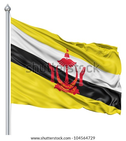 Flag of Brunei with flagpole waving in the wind against white background - stock photo