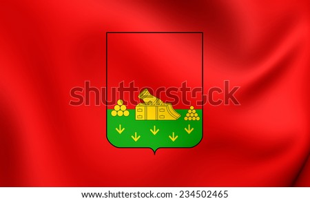 Flag of Bryansk, Russia. Close Up. - stock photo