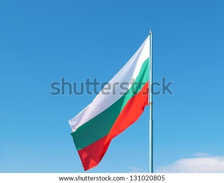 Flag of Bulgaria against blue sky - stock photo