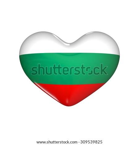 flag of Bulgaria on the heart. 3d render illustration - stock photo