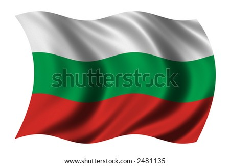 Flag of Bulgaria waving in the wind - clipping path included
