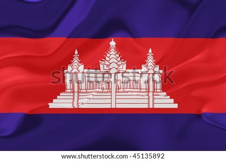 Flag of Cambodia, national symbol illustration clipart wavy fabric - stock photo