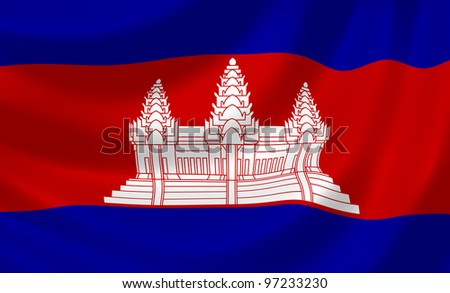 Flag of Cambodia waving in the wind detail - stock photo