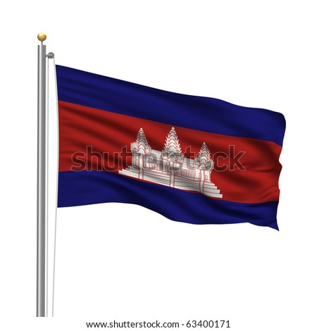 Flag of Cambodia with flag pole waving in the wind over white background - stock photo